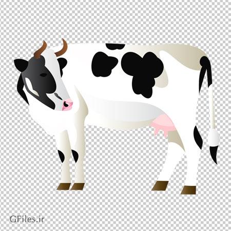 دانلود فایل PNG گاو سفید ماده بصورت کارتونی و بدون پس زمینه دوربری شده