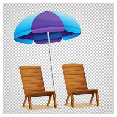 صندلی و سایبان ساحلی بدون پس زمینه با فرمت png