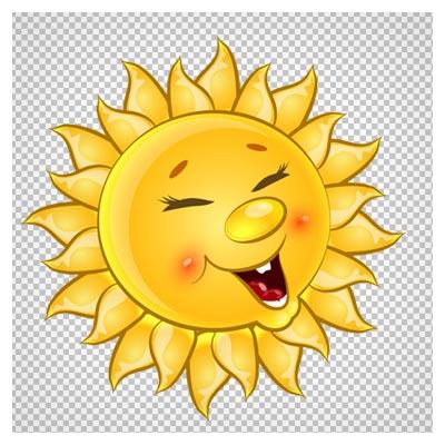فایل png و بدون پس زمینه کاراکتر کارتونی خورشید زرد خوشحال