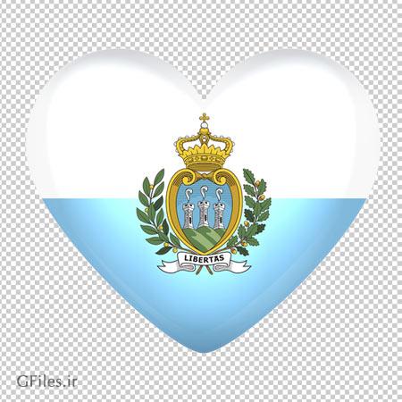 پرچم سان مارینو به صورت قلبی شکل بدون پس زمینه با فرمت png
