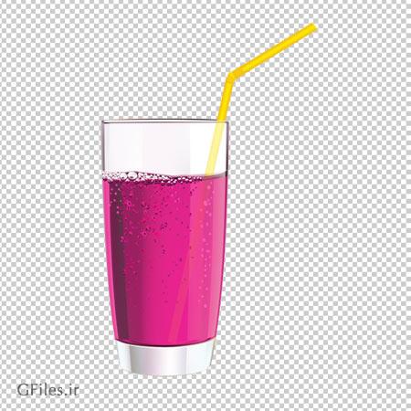 لیوان شربت با رنگ بنفش دوربری شده و فاقد بکگرند