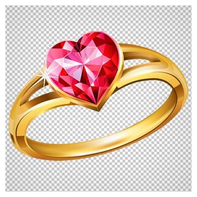 دانلود انگشتر طلا با نگین قرمز قلبی بدون پس زمینه