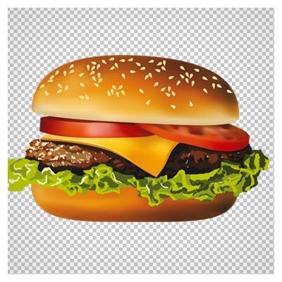 دانلود ساندویچ همبرگر با پنیر بدون پس زمینه و فرمت png