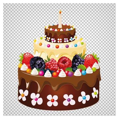 کیک سه طبقه شکلاتی با تزیین میوه بدون پس زمینه با فرمت PNG