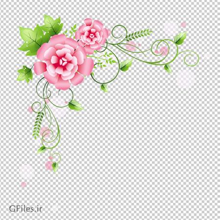 قاب عکس با طرح گلهای صورتی بدون پس زمینه با فرمت png