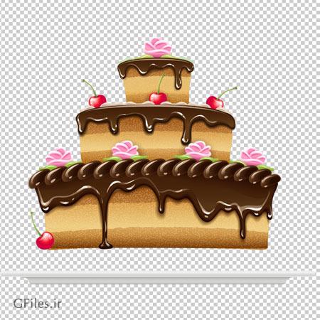 کیک تولد سه طبقه شکلاتی فاقد بکگرند با فرمت png