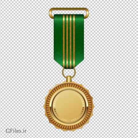 مدال طلا با روبان سبز به صورت فایل ترانسپرنت و فرمت png