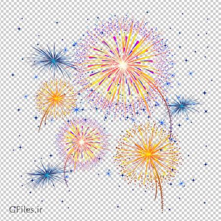 تصویر آتش بازی رنگارنگ کارتونی ، دانلود بصورت فایل دوربری شده فاقد پس زمینه