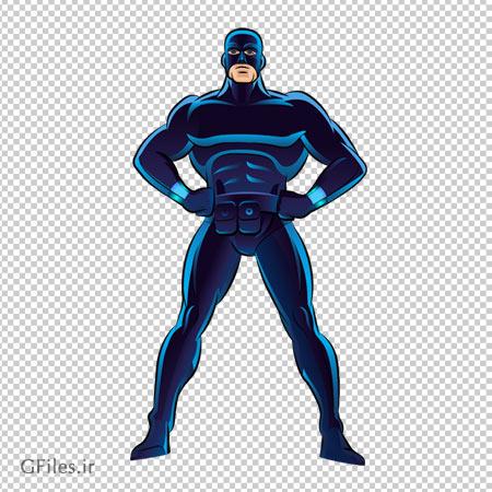 دانلو مرد تصویر قهرمان کارتونی با لباس سورمه ای بدون پس زمینه با فرمت png