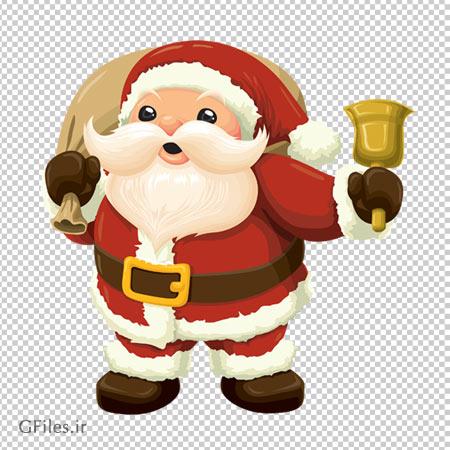 تصویر دوربری شده با فرمت png بابانوئل زنگوله دار