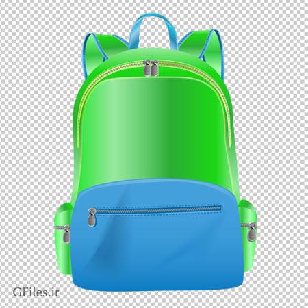 تصویر دوربری شده کوله پشتی سبز و آبی با پسوند png