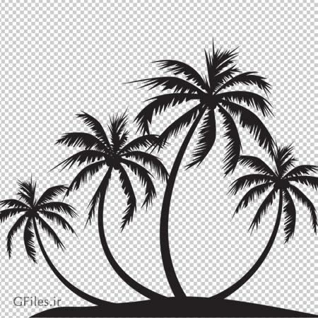 دانلود فایل دوربری شده جزیره و نخل های سیاه با فرمت png