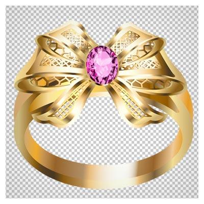 فایل دوربری شده حلقه طلا با طرح پاپیونی و الماس بنفش با فرمت png