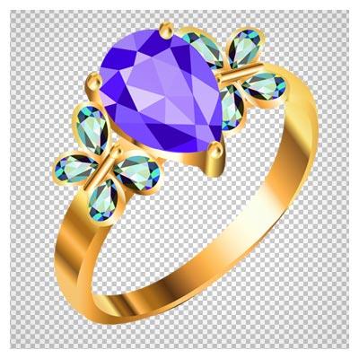 دانلود حلقه طلا با طرح پروانه نگین دار آبی دوربری شده