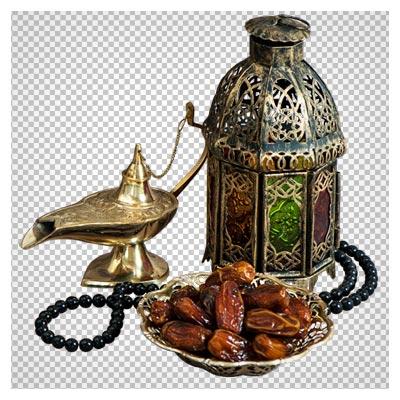 تصویر دوربری شده چراغ جادو ، فانوس و خرما برای ماه مبارک رمضان با فرمت PNG