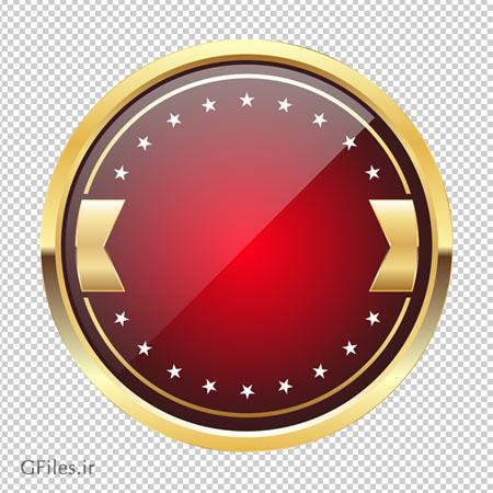 برچسب و لیبل طراحی شده قرمز بی متن بدون پس زمینه