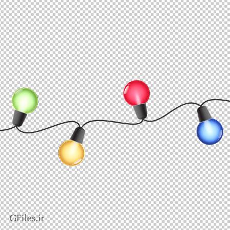 فایل png لامپ های رنگی ریسه ای بدون پس زمینه
