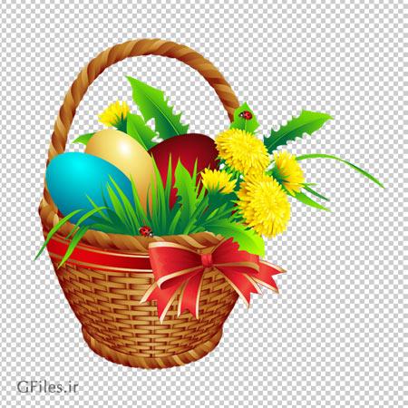 تصویر سبد تخم مرغ های رنگی، دانلود بصورت فایل دوربری شده