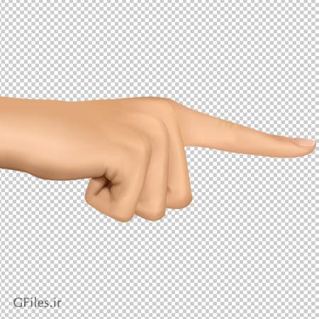 تصویر دست اشاره گر کارتونی ، دانلود بصورت فایل دوربری شده فاقد بکگرند