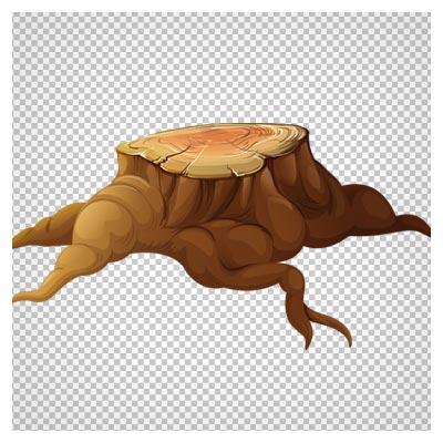 تصویر درخت قطع شده کارتونی ، دانلود بصورت فایل دوربری شده و بدون پس زمینه