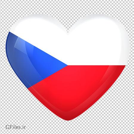 تصویر پرچم قلبی شکل جمهوری چک ، دانلود بصورت فایل ترانسپرنت و بدون پس زمینه