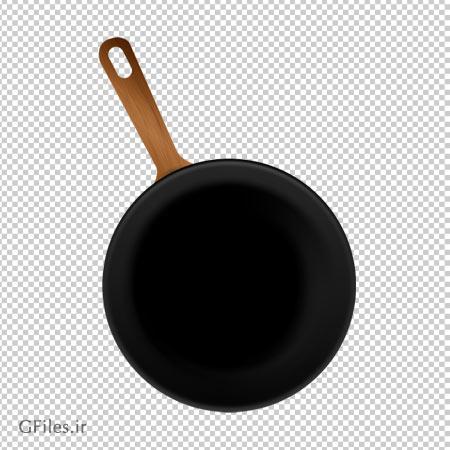 ماهیتابه نچسب با دسته چوبی، دانلود بصورت فایل فاقد بکگرند با پسوند png