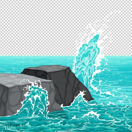 تصویر صخره های وسط اقیانوس، دانلود بصورت فایل بدون بکگرند با پسوند png