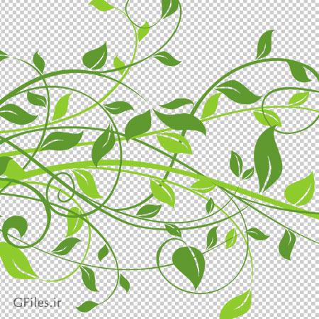 حاشیه دسته برگ های سبز ، دانلود بصورت فایل با پسوند png و فاقد بکگرند