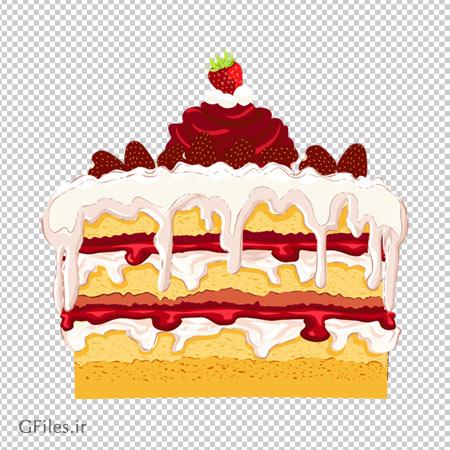 کیک توت فرنگی پر خامه ، دانلود بصورت فایل با پسوند png و ترانسپرنت و کارتونی
