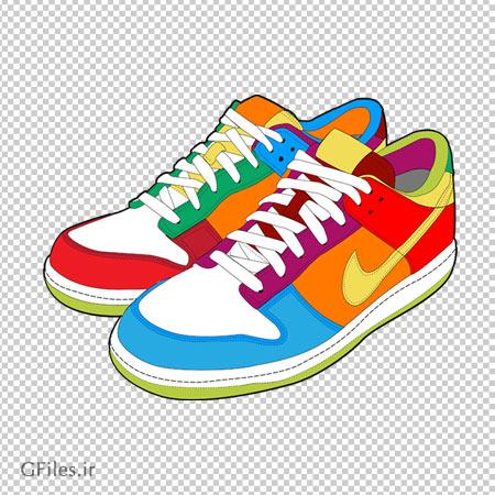 کفش اسپرت رنگارنگ کارتونی ، دانلود بصورت فایل دوربری شده فاقد پس زمینه