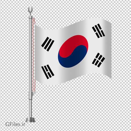 پرچم کشور کره جنوبی بصورت پایه دار ، دانلود بصورت فایل فاقد پس زمینه و دوربری شده