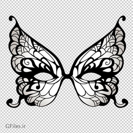 نقاب چشم پروانه ای سفید مشکی ، دانلود بصورت فایل بدون پس زمینه و دوربری شده