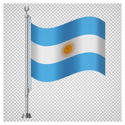 پرچم کشور آرژانتین با پایه ، بصورت فایل بدون پس زمینه