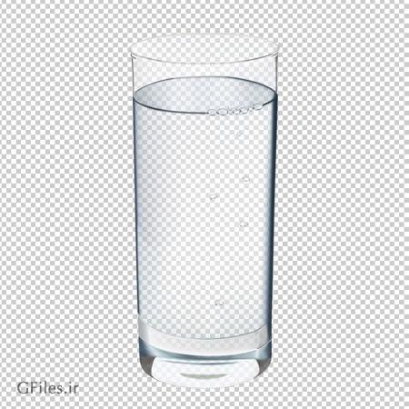 لیوان شفاف پر از آب ، دانلود بصورت فایل ترانسپرنت PNG