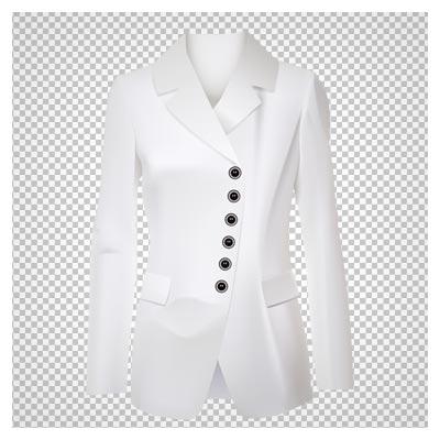 کت سفید زنانه بلند ، دانلود بصورت فایل ترانسپرنت و فاقد پس زمینه PNG