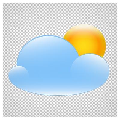 تصویر دوربری شده خورشید گرد ساده پشت ابر با فرمت png