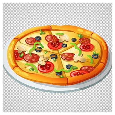 فایل دوربری شده و فاقد بکگرند پیتزای سبزیجات با فرمت PNG