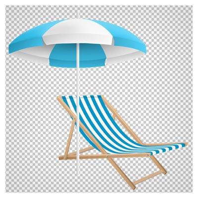 صندلی ساحلی بهمراه آفتابگیر، دانلود بصورت فایل png و ترانسپرنت