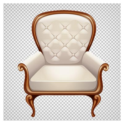 مبل سلطنتی ساده با روکش چرم سفید رنگ ، دانلود بصورت فایل پی ان جی