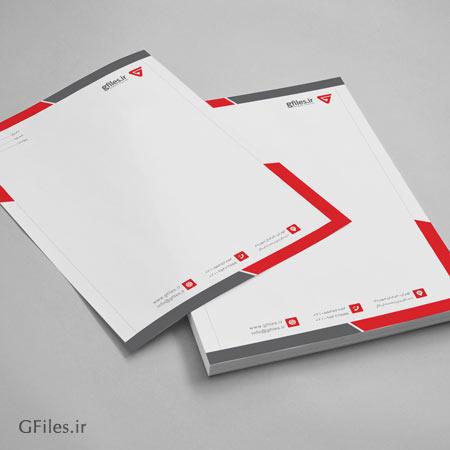 سربرگ زیبای لایه باز با تم رنگی قرمز با حاشیه کناری ، ارائه شده با فرمت PSD