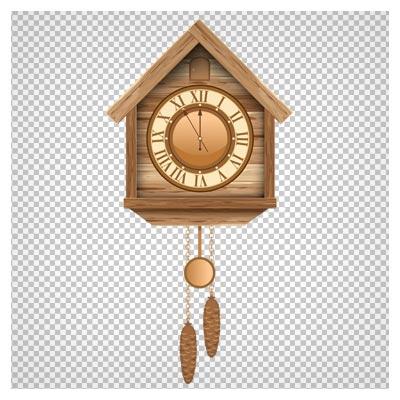 تصویر ساعت دیواری قدیمی کلبه ای ، بصورت فایل دوربری شده و فاقد بکگرند