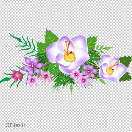 تصویر گل های تزئینی صورتی و بنفش ، دانلود بصورت فایل ترانسپرنت
