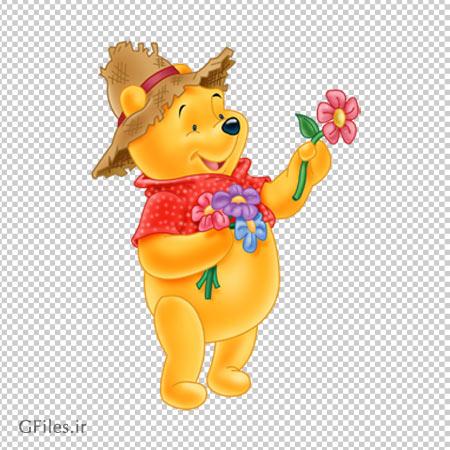 تصویر کارتونی پوو و گل های رنگی ، دانلود بصورت فایل ترانسپرنت و دوربری شده