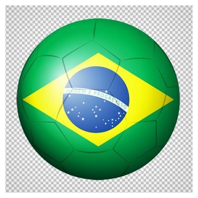 دانلود فایل پی ان جی توپ فوتبال با طرح پرچم برزیل به صورت ترانسپرنت