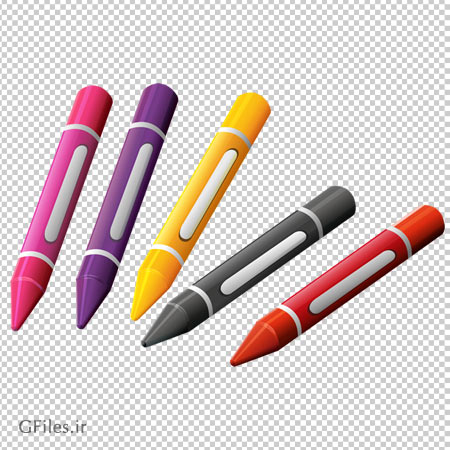 کلیپ آرت مداد شمعی های رنگی با فرمت پی ان جی و فاقد بکگرند