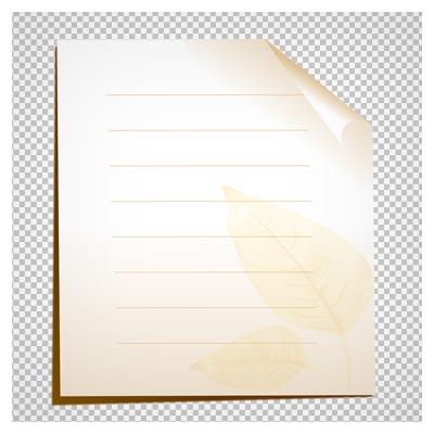 تصویر کاغذ خط دار با طرح برگ بدون پس زمینه و فرمت پی ان جی