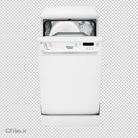 فایل دوربری شده ماشین ظرفشویی سفید درب باز با پسوند پی ان جی