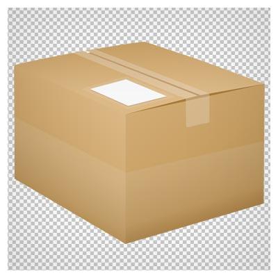 فایل ترانسپرنت جعبه درب بسته اتیکت دار با فرمت پی ان جی