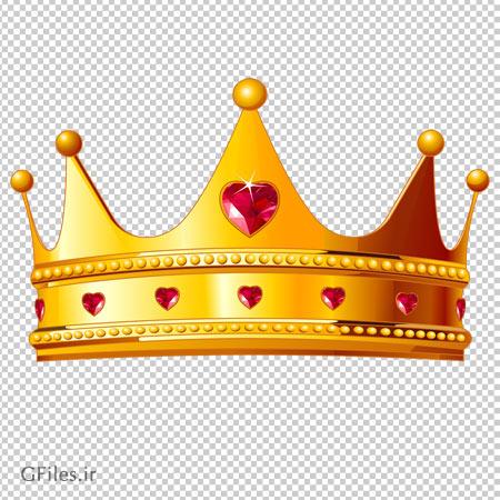 دانلود فایل ترانسپرنت تاج طلا با الماس های قلبی شکل با فرمت پی ان جی