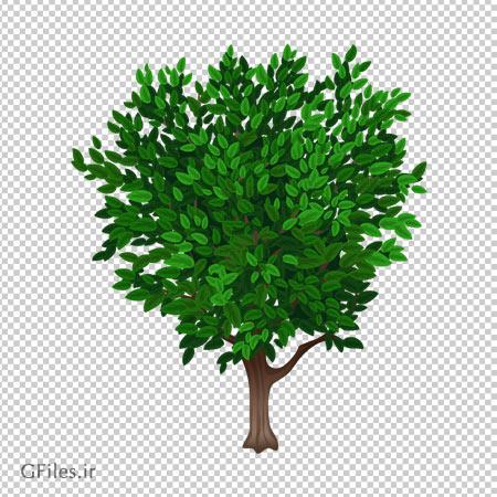 کلیب آرت درخت کوتاه پر برگ بدون پس زمینه با فرمت پی ان جی